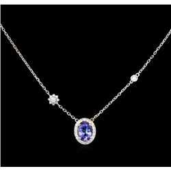 1.25 ctw Tanzanite and Diamond Necklace - 14KT White Gold