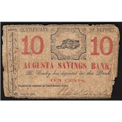 10 Cent Cert of Deposit Augusta Savings Bank Note