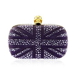 Alexander McQueen Purple Suede Jewel Embroidered Clutch