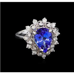 3.33 ctw Tanzanite and Diamond Ring - 14KT White Gold