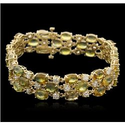14KT Yellow Gold 37.44 ctw Yellow Sapphire and Diamond Bracelet