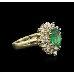 14KT Yellow Gold 2.29 ctw Emerald and Diamond Ring