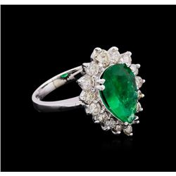 14KT White Gold 2.02 ctw Emerald and Diamond Ring
