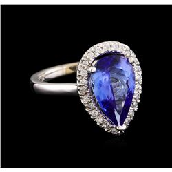 3.58 ctw Tanzanite and Diamond Ring - 14KT White Gold