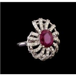 GIA Cert 2.99 ctw Ruby and Diamond Ring - 14KT White Gold