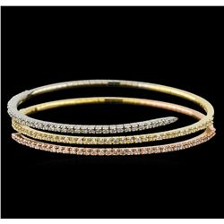 2.67 ctw Diamond Bracelet - 14KT Tri Color Gold