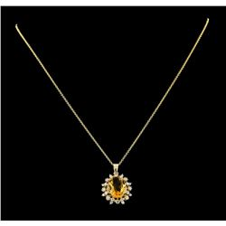 4.35 ctw Citrine and Diamond Pendant With Chain - 14KT Yellow Gold