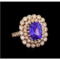 14KT Rose Gold 5.95 ctw Tanzanite and Diamond Ring
