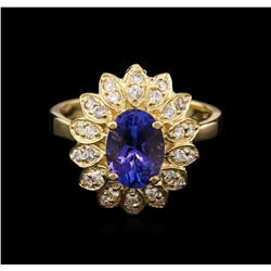 2.06 ctw Tanzanite and Diamond Ring - 14KT Yellow Gold