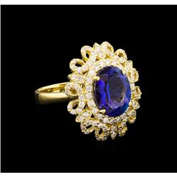 4.12 ctw Tanzanite and Diamond Ring - 14KT Yellow Gold