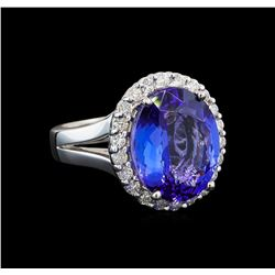 GIA Cert 8.19 ctw Tanzanite and Diamond Ring - 14KT White Gold