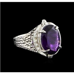 4.72 ctw Amethyst and Diamond Ring - 14KT White Gold