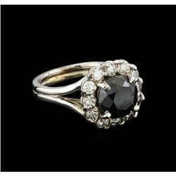 4.42 ctw Black Diamond Ring - 14KT White Gold