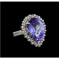 9.24 ctw Tanzanite and Diamond Ring - 14KT White Gold