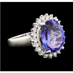 7.50 ctw Tanzanite and Diamond Ring - 14KT White Gold