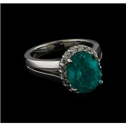 5.12 ctw Apatite and Diamond Ring - 14KT White Gold