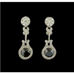 4.12 ctw Diamond Earrings - 14KT White Gold