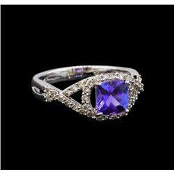 14KT White Gold 1.22 ctw Tanzanite and Diamond Ring