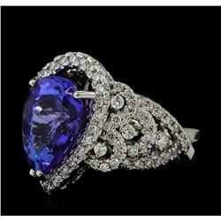 6.63 ctw Tanzanite and Diamond Ring - 14KT White Gold