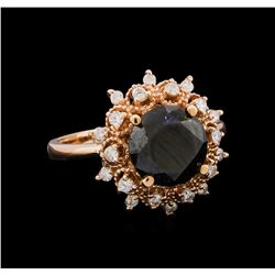 3.70 ctw Black Diamond Ring - 14KT Rose Gold