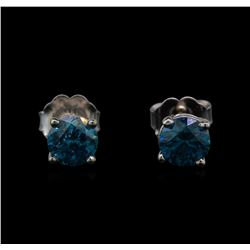 14KT White Gold 0.86 ctw Fancy Blue Diamond Stud Earrings