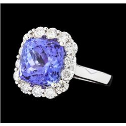 4.96 ctw Tanzanite and Diamond Ring - 14KT White Gold
