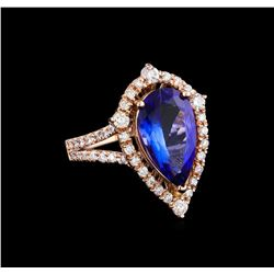 2.91 ctw Tanzanite and Diamond Ring - 14KT Rose Gold