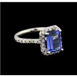 2.45 ctw Tanzanite and Diamond Ring - 14KT White Gold
