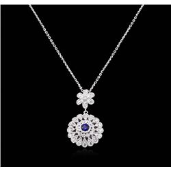 14KT White Gold 0.97 ctw Sapphire and Diamond Pendant with Chain