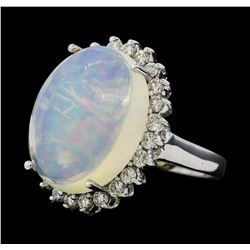 9.45 ctw Opal and Diamond Ring - 14KT White Gold