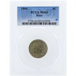 1866 Shield Nickel Coin with Rays PCGS MS63