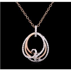 0.82 ctw Diamond Pendant With Chain - 14KT Two-Tone Gold