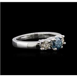 14KT White Gold 0.84 ctw Fancy Blue Diamond Ring