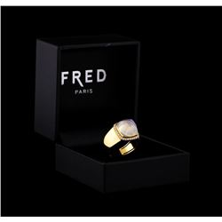 Fred of Paris Pain De Sucre Chalcedony and Diamond Ring - 18KT Yellow Gold