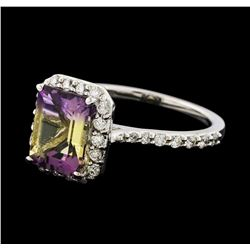 2.17 ctw Ametrine and Diamond Ring - 14KT White Gold