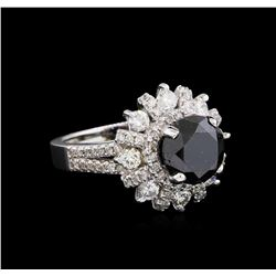 4.24 ctw Fancy Black Diamond Ring - 14KT White Gold