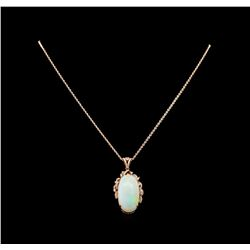 14KT Rose Gold 19.53 ctw Opal and Diamond Pendant With Chain