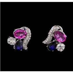 4.14 ctw Pink Sapphire and Diamond Earrings - 14KT White Gold