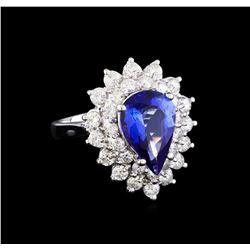 2.83 ctw Tanzanite and Diamond Ring - 14KT White Gold