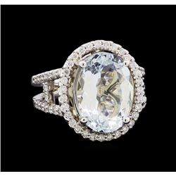 5.25 ctw Aquamarine and Diamond Ring - 14KT White Gold