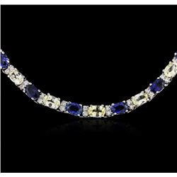 14KT White Gold 28.08 ctw Sapphire and Diamond Necklace