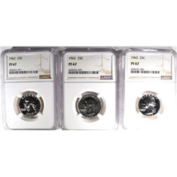2-1962 & 1963 WASHINGTON QUARTERS NGC PF67
