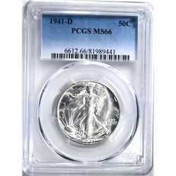 1941-D WALKING LIBERTY HALF DOLLAR, PCGS MS-66
