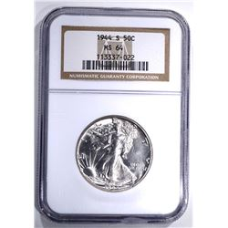1944-S WALKING LIBERTY HALF, NGC MS-64