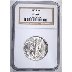 1945-S WALKING LIBERTY HALF, NGC MS-64