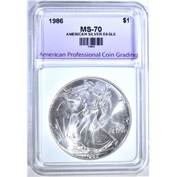 1986 AMERICAN SILVER EAGLE, APCG PERFECT GEM BU