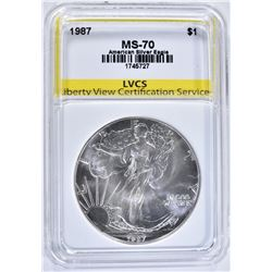 1987 AMERICAN SILVER EAGLE. LVCS PERFECT GEM BU