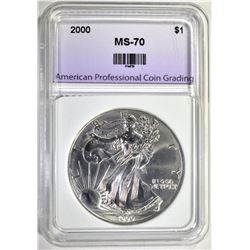 2000 SILVER EAGLE, APCG PERFECT GEM BU