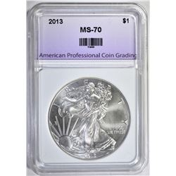 2013 SILVER EAGLE, APCG PERFECT GEM BU