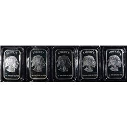 5-INDIAN/BUFFALO ONE OUNCE .999 SILVER BARS